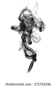 Black smoke on a white background.