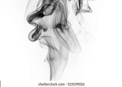 Black smoke on white background, abstract art
