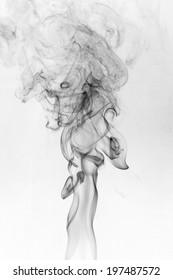 Black smoke on a white background,abstract smoke