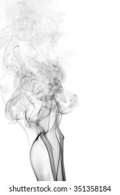 Black smoke on a white background,Abstract black smoke swirls over white background, fire smoke