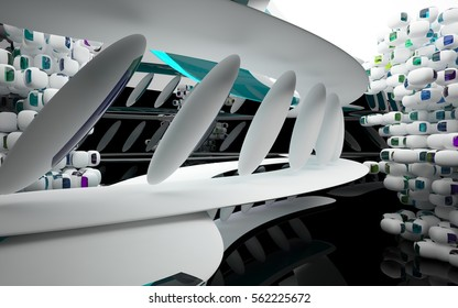 Black smooth abstract architectural background whith white and colored gradient lines . 3D illustration and rendering