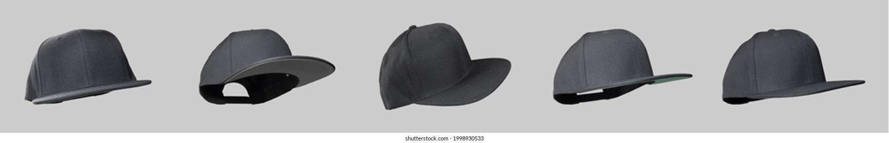 Black snapback cap flat visor fly concept