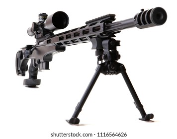 Black sniper rifle with rifle scope and bipod in front of a white background