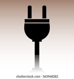 Black Socket icon. illusstration with reflection