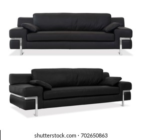 Black Sofa isolated with different angles in white background
