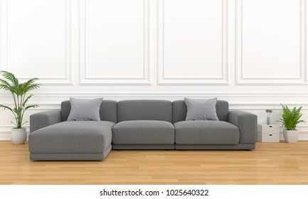 black sofa modular in white room, 3D rendering