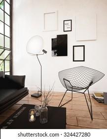 Black sofa set in the modern living room - 3 d render using 3 d s Max