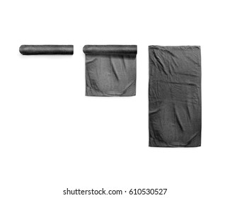 Black black soft beach towel mockup set. Clear folded and unfolded wiper mock up laying on the floor. Shaggy fur bath textured jack-towel top view. Domestic cloth kitchen overlay template wrapped.