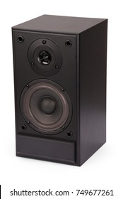 Black sound speakers isolated over the white background with soft shadow