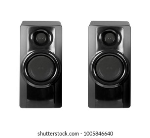 Black sound speakers on white background