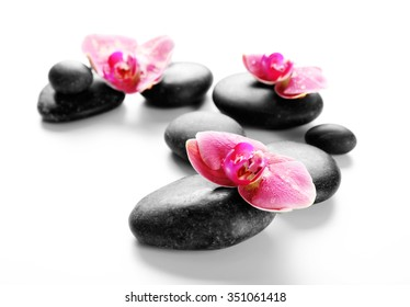 Black spa stones and orchids isolated on white