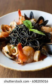 Black Spaghetti pasta with shrimp, mussels, and calamari