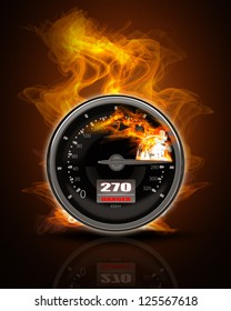Black Speedometer in Fire. High resolution. 3D image