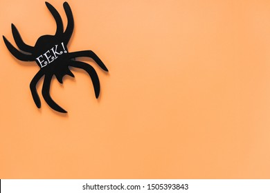 Black spider with Eek! inscription in corner