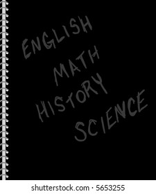 Black spiral school notebook with four subjects erased onto the cover, English, math, history, and science.