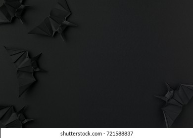 Black Spooky Origami Bats For Halloween Isolated On With Copy Space