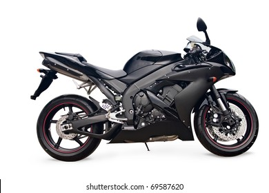 black sport bike on a white background