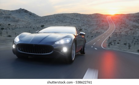 Attractive Black Sport Car On Road, Highway. Very Fast Driving. 3d Rendering.