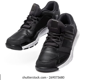 Black sport shoes on white background