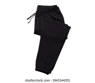 Black  Sport Sweatpants Isolated on White Background. Folded black pants