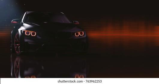 Black sports car headlights (with overlay) - 3d illustration