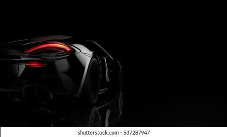 Black sports car (with grunge overlay) - 3d illustration
