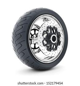 Black sports wheel on a white background