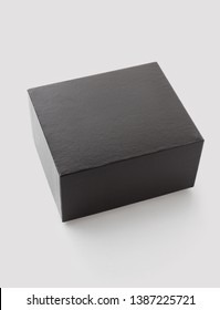 Black square box for gift. Mock-up box  isolated on white