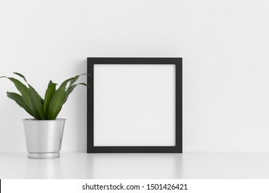 Black square frame mockup with a dracaena in a pot on a white table.