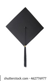 Black square graduate hat with a tassel isolated on white background; top view