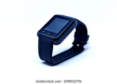 Black square smart watch isolated on white background.
