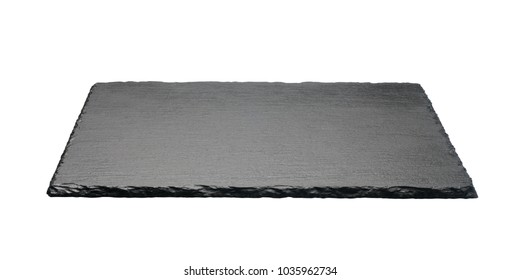 Black square stone plate isolated on white background