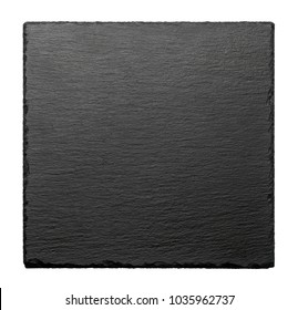 Black square stone plate isolated on white background. Top view.