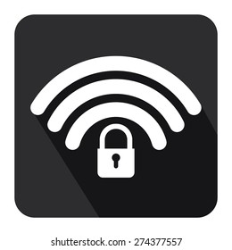 Black Square WiFi and Bluetooth Lock Sign Flat Long Shadow Style Icon, Label, Sticker, Sign or Banner Isolated on White Background