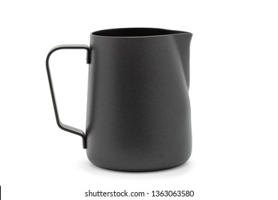 Black stainless steel milk jug.Black stainless steel milk pitcher. Foaming jug for latte art. Barista kit. Mug Isolated on White background. with clipping path.