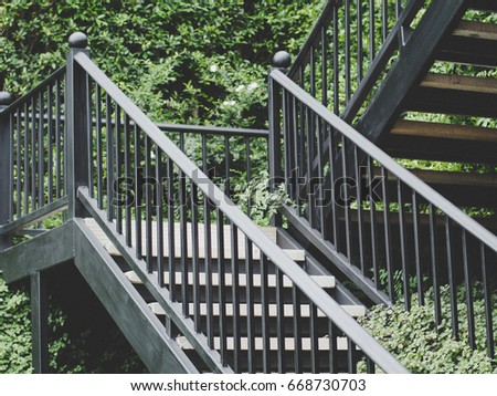 Black Stairs Outside House Stock Photo Edit Now 668730703