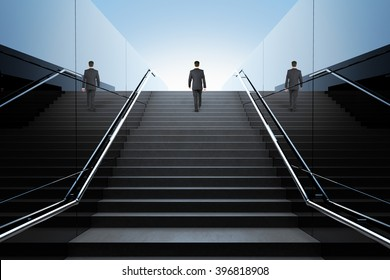 Black stairs in pedestrian subway with businessman and clear blue skies with sunshine. 3D Render