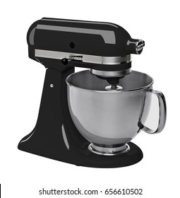 Black stand / kitchen mixer isolated on white background including clipping path.