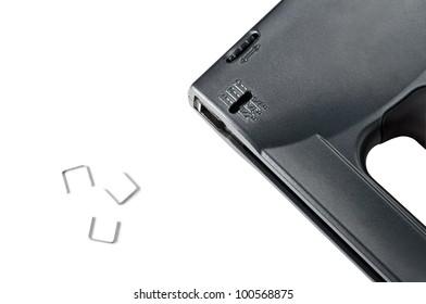 Black stapler gun isolated on white background