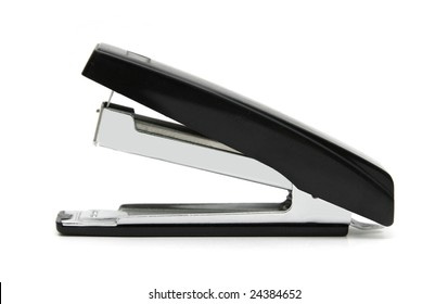 Black stapler isolated on white.