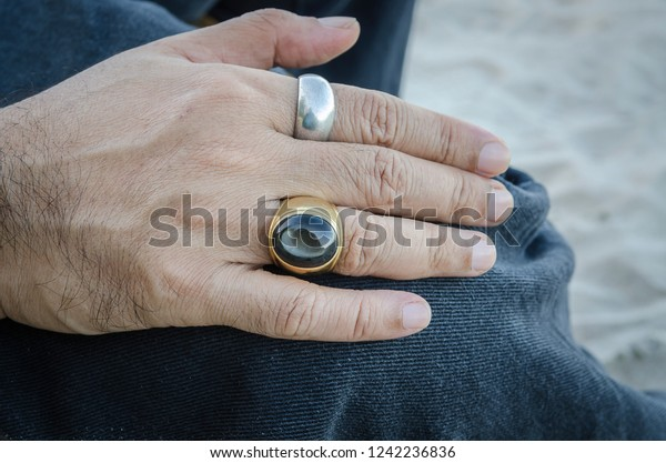 0245f9fd48656 Black Star Stone Ring Gold Silver Stock Photo (Edit Now) 1242236836