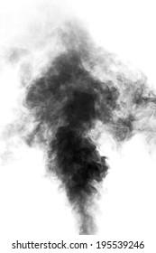 Black steam looking like smoke isolated on white background. Big cloud of black smoke.