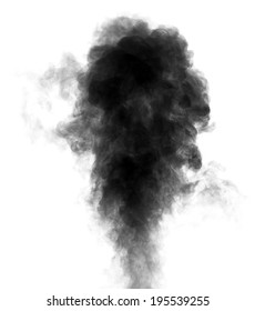 Black steam looking like smoke isolated on white background. Big cloud of black smoke.