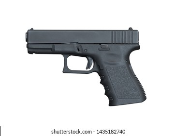 Black steel polymer semi-automatic 9mm Pistol isolated on white background with clipping path