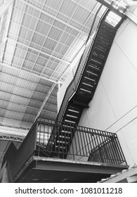 black steel stairs