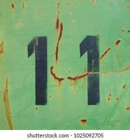 black stencil number, eleven, 11