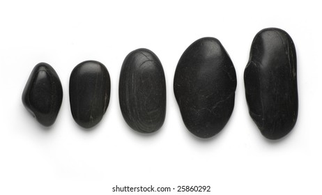 black stepping zen stones isolated on white background