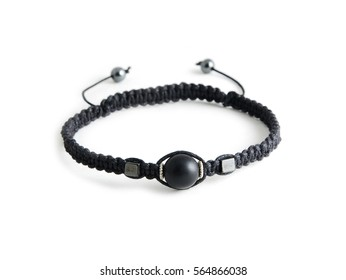 Black stone bracelet isolated on white background
