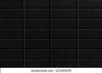 Black stone brick wall pattern and blackground