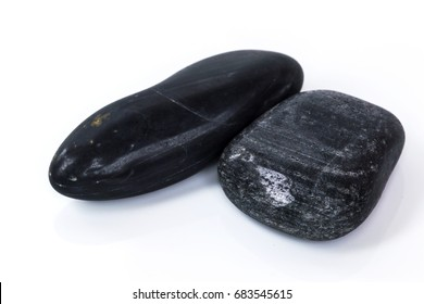 black stone isolated on white background